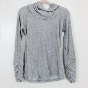 Kuhl Gray Ribbed Ruched Cuff Long Sleeve Cowl Neck